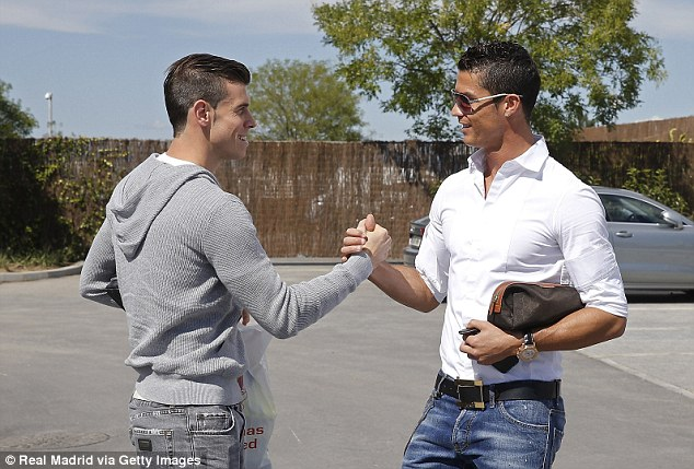 Frightening double act: Bale and Ronaldo met for the first time at Real training on Wednesday