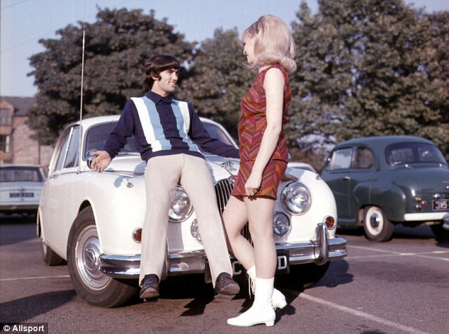 Laid back: Best reclines on the bonnet of his car with girlfriend Jennifer Rush in 1966