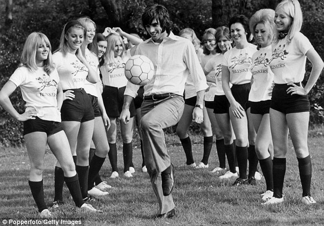 A right knees up: Best shows his skills to the 'Blinkers' girls team (named after his nightclub in Manchester), who he was training for a charity match