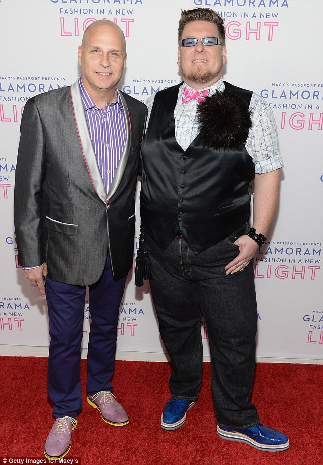 Coloured kicks: Macy's VP of Special Productions Mike Gansmoe, left, and Macy's stylist Paul Anthony, right, sported vibrant shoes