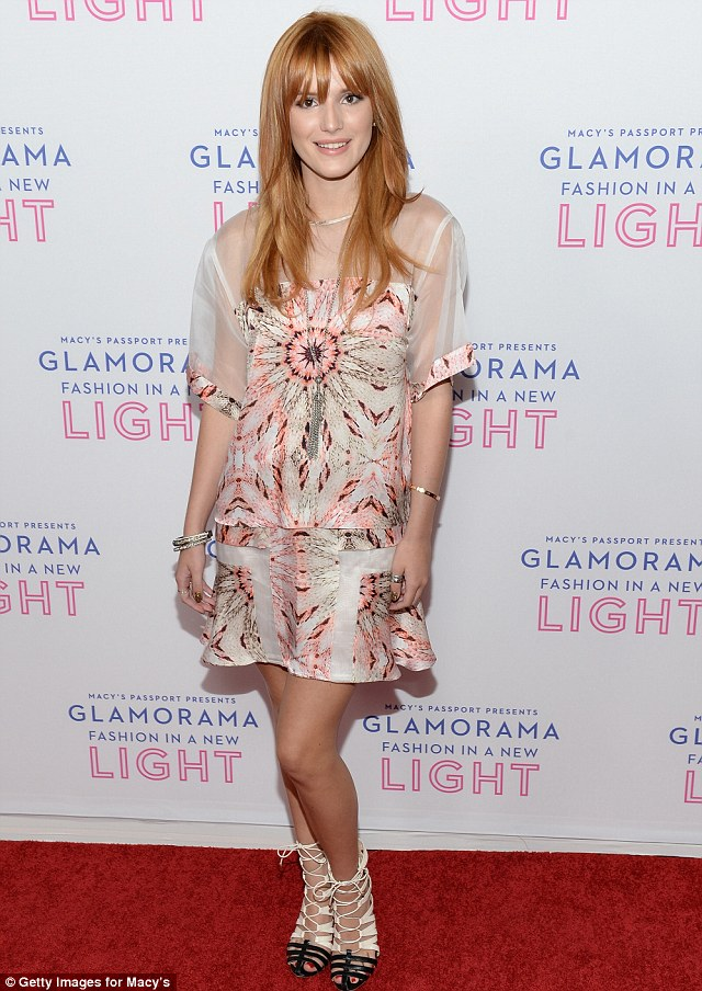 Peachy in pink: Bella Thorne looked lovely in a printed shift dress as she attended Glamorama 2013 at the Orpheum Theatre in Los Angeles, California on Thursday