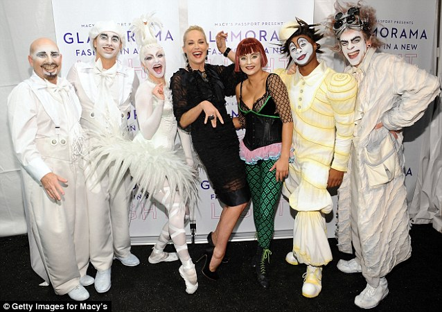I want to be a part of the crew! Sharon Stone joined teh Cirque du Soleil performers on the carpet