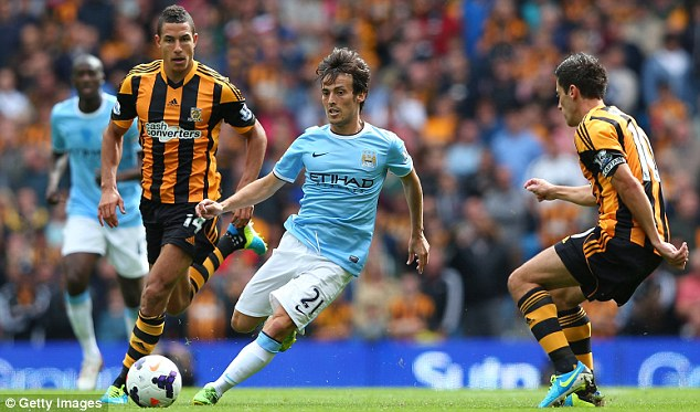 No Silva lining: Manchester City will be without David Silva for their clash at Stoke