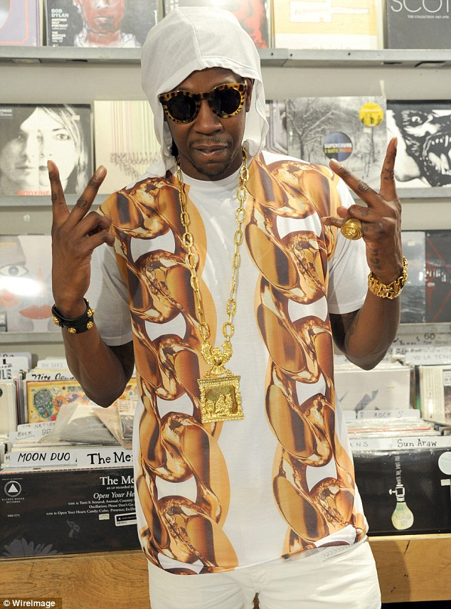 Midas touch: 2 Chainz donned his golden best while shooting for a Music Choice campaign in New York City on Thursday