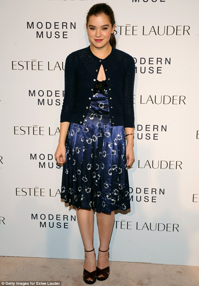 Fresh: Young actress Hailee Steinfeld was demure in a navy blue silk frock at the fragrance launch