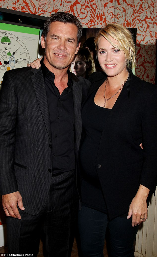 A glowing Kate: Josh Brolin gushed at Kate Winslet's bump at the Toronto Film Festival and told E! Online 'I was feeling the baby last night and the baby moved, and that was a very exciting moment for me.'