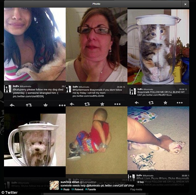 Troll: Some other images reportedly taken from the @illumivato page show animals in blenders and a young child tied up with messages threatening to kill them if One Direction didn't follow her on Twitter