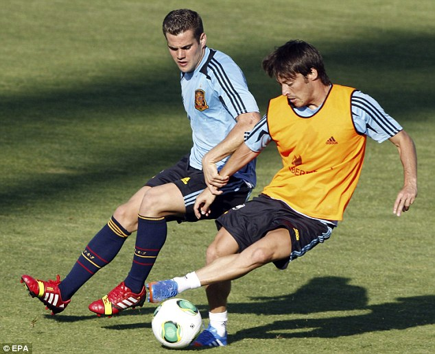 Home: Silva returned to Manchester after pulling up in Spain training