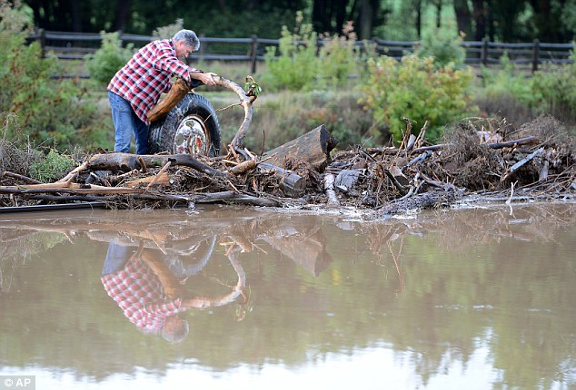 Clean-up: Today, a farmer is seen clearing debris from railroad tracks in Longmont, Colorado