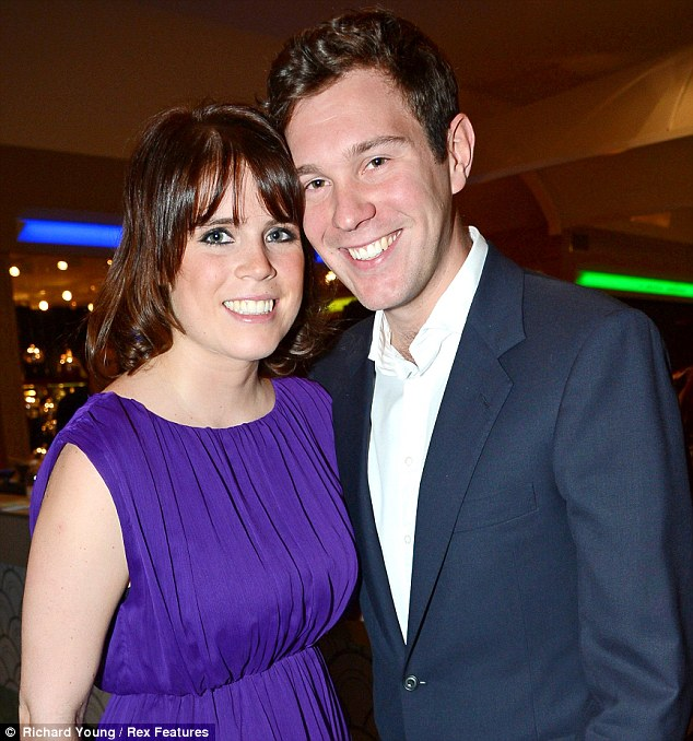Dashing: Princess Eugenie is dating Jack Brooksbank. The couple are seen together at the Masterpiece Midsummer Party in aid of Marie Curie in London in July