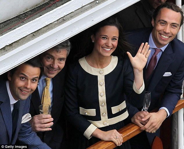 Friends in high places: Charlie Gilkes (far left) joins former flame Pippa Middleton and her family on board a barge during the Diamond Jubilee Thames River Pageant in June 2012