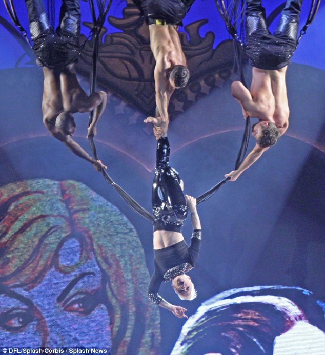 Acrobatic: Perhaps Pink is hoping to incorporate the hula hoop into her acrobatic set when she resumes her world tour