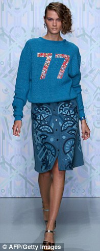 Nonchalant: Chunky knits were paired with buttoned mum skirts
