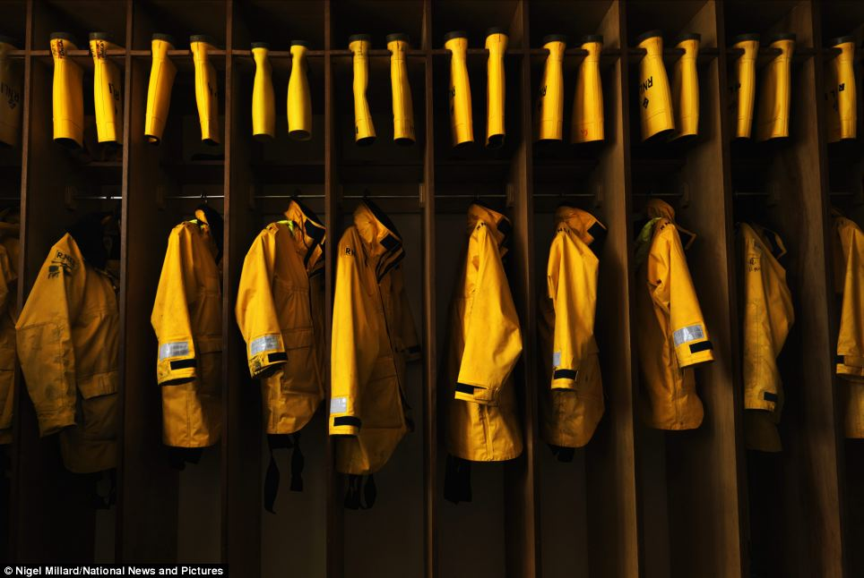Ready for the next time the Achill Island lifeboat is called to sea, the crew's all-weather gear is neatly stowed in the boathouse