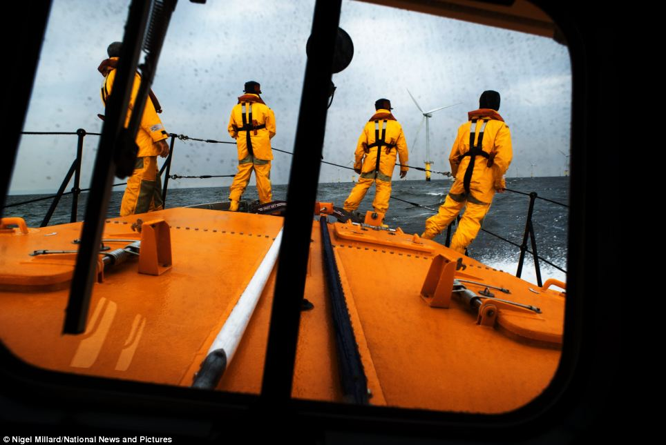 The view from the wheelhouse of the Hoylake lifeboat, Lady of Hilbre, as the crew search for a casualty in the water near the North Hoyle wind farm