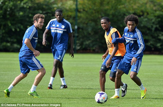 in training: Eto'o at Cobham with his new team-mates last week