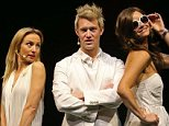 "Eddie Perfect who plays Shane Warne and Christie Whelan Brown who plays Elizabeth Hurley pose during a ""Shane Warne The Musical' media call"