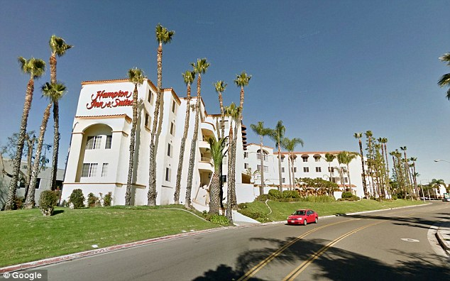 Scene of the crime: The two children were found dead in a room at this Hampton Inn in Santa Ana, CA