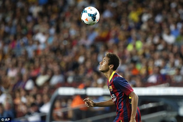 Improving: Neymar arguable outshone Messi on the night, dazzling on the left-hand side
