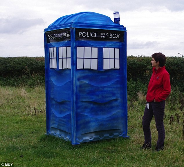 Louise Possegger, pictured, found that a portaloo dumped in her farm had transformed into a tardis