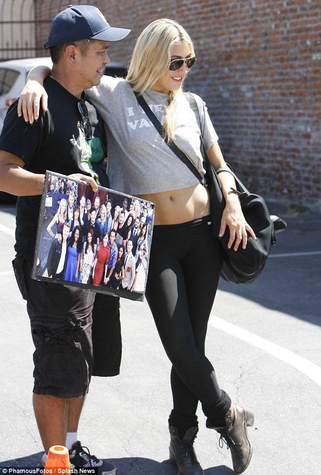 Eye catching: Gorgeous Emma Slater posed with fans before hitting up dance rehearsals