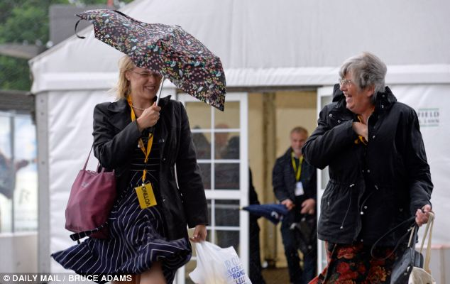 Blustery: Many delegates were not well-prepared for the weather