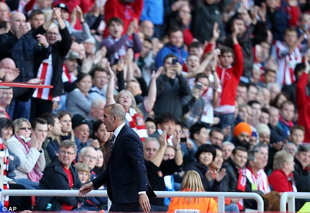 On his way: Di Canio is sent to the stands by referee Martin Atkinson