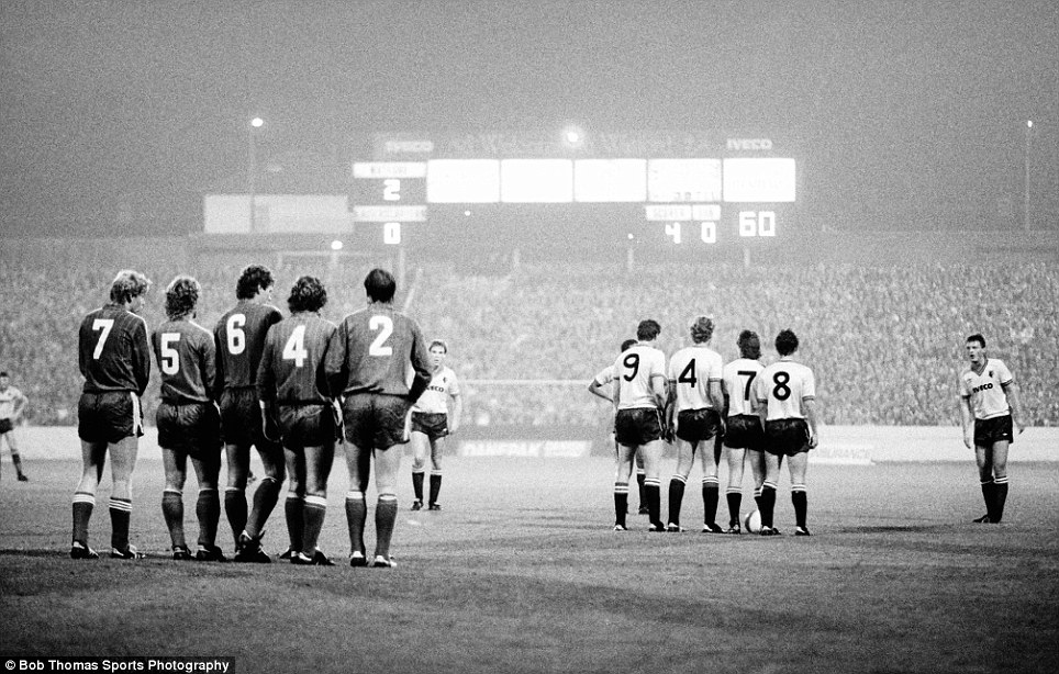Watford's Ian Bolton prepares to take his free kick with a wall of his teammates obscuring the FC Kasiserslautern defenders' view of the ball during the UEFA Cup 1st Round 2nd leg match held at Vicarage Road in Watford on 28th September 1983