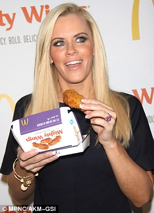 Almost but not quite: McCarthy held the fried food dangerously close to her lips