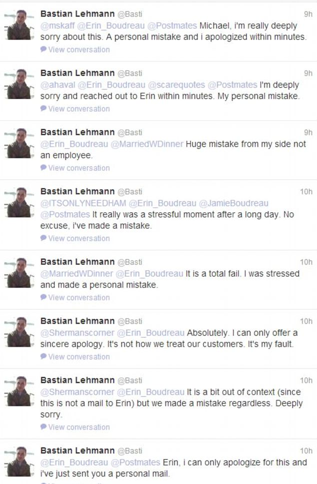 String of apologies: Bastian Lehmann's Twitter account shows conversations between him and customer, Erin Boudreau