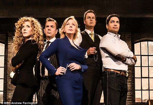 TV career: The Dragons (L-R) Kelly Hoppen, Duncan Bannatyne, Deborah Meaden, Peter Jones, and Piers Linney, a show which Duncan says gave him a reason to get up in the morning