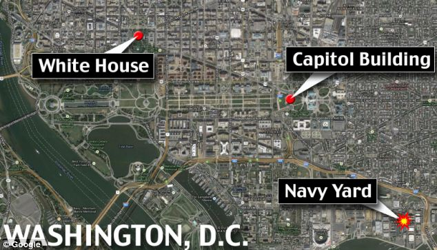 Scene of terror: A map shows the Navy Yard's proximity to the White House and Capitol Building in D.C.