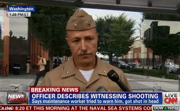 Horror: Commander Tim Jirus told CNN he witnessed a maintenance worker being shot in the head