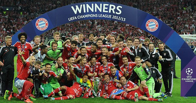 Last time out: Bayern Munich were crowned Champions League winners at Wembley in May