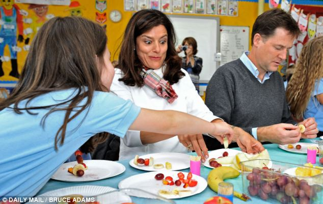 Healthy: Mr Clegg will argue that pupils who have school meals are healthier and achieve more academically