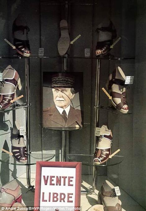 Vichy government head Marshal Pétain is the centrepiece of a shoe shop window display