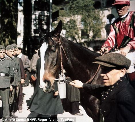 Friendly force: Nazi soldiers are shown participating in Paris life and are seen shopping at the market (left) and at the horse racing (right)
