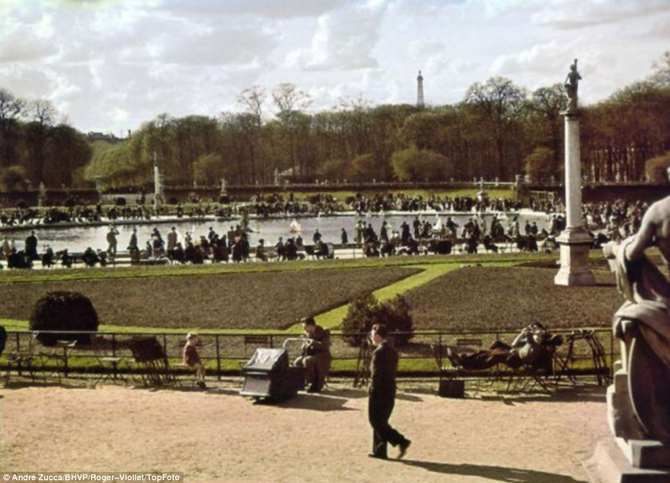 A walk in the park: Shot by Zucca for German propaganda magazine Signal, these pictures show a Paris that is in sharp contrast to the hardships commonly associated with Nazi rule