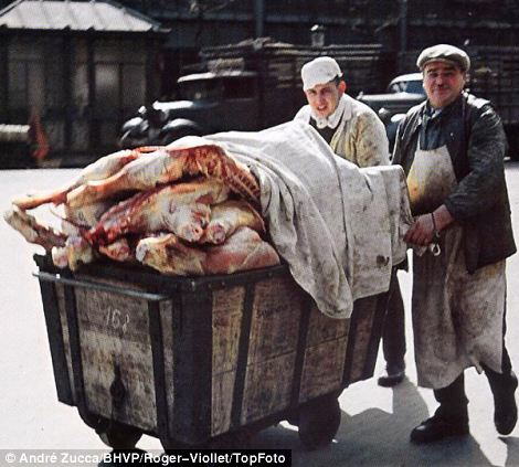 No rations: Pictures of cartloads of meat (left) and fashionable clothes (right) give the impression that French life was the same as pre-war