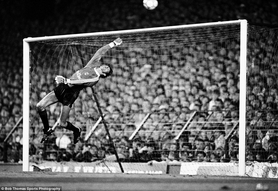 Charlton Athletic goalkeeper Nicky Johns makes a save to prevent John Barnes of Liverpool scoring from a free kick during their Division One football match held at Anfield, Liverpool on 15th September 1987.  Liverpool beat Charlton Athletic 3-2.