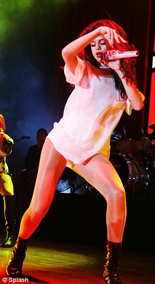 She's got the moves: The 21-year-old swayed her hips onstage for the Italian audience