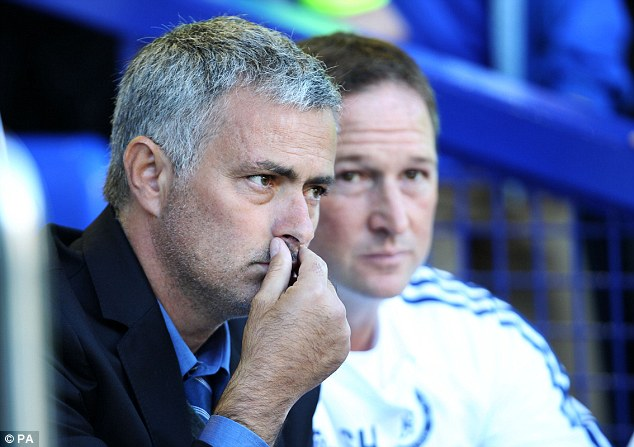 Still thinking: Mourinho is yet to decide on a solid starting eleven, let alone a style of play at Chelsea