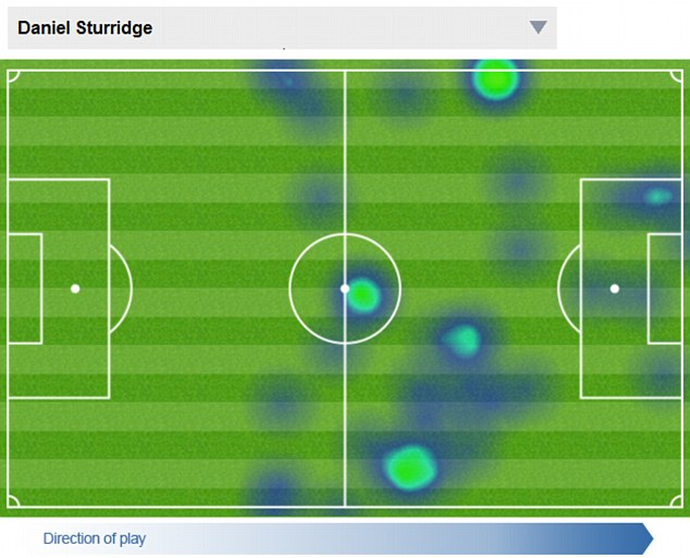 Getting about: Sturridge's heat map from the Swansea game shows how active the striker is across the front line