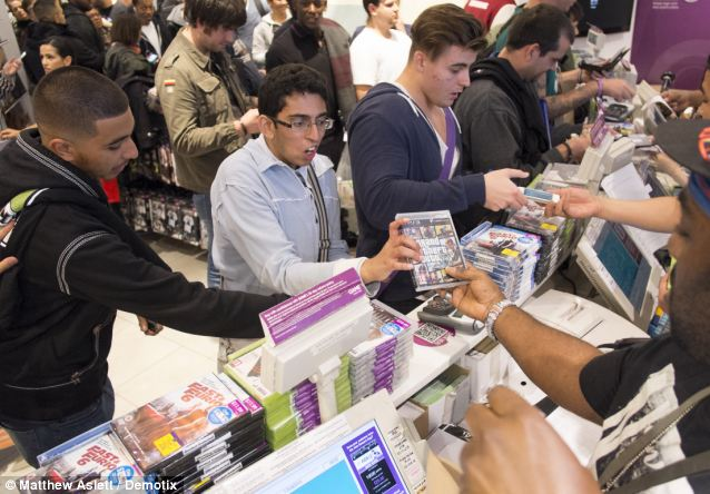Big sales: Customers snap up the new game at the Westfield shopping centre in Stratford