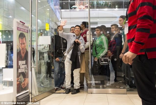 Much anticipated: Queues are finally allowed to enter the Game store at Westfield in Stratford after a long wait for the game