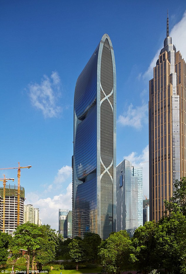 Tall storey: With 71 floors over 310 metres, Pearl River Tower in China, was the highest on the list
