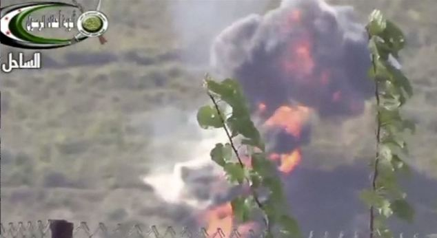 Amateur video footage, said to have been taken in Lattakia, in Syria, apparently shows the helicopter falling from the sky and exploding when it hits the ground