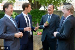 Wimbledon winner Andy Murray joined (from left) Deputy Prime Minister Nick Clegg, Prime Minister David Cameron, labor leader Ed Miliband and SNP Westminster leader Angus Robinson during a reception in the garden of Downing Street