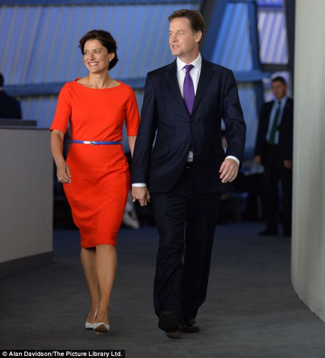 Stepping out: Nick Clegg arrives at the conference centre to deliver his speech, with wife Miriam