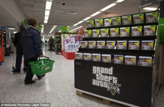 In stock: The game is pictured on display at the store hours after its release today